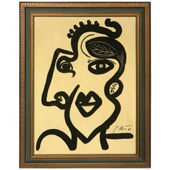 Peter Keil 'Madame' Framed Abstract Portrait Oil Painting