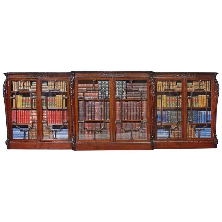 Mahogany Breakfront Library Bookcase