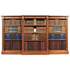 Reformed Gothic Oak Open Breakfront Bookcase