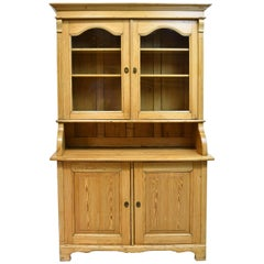 North German Pine Hutch with a Flight of Interior Drawers and Original Glass