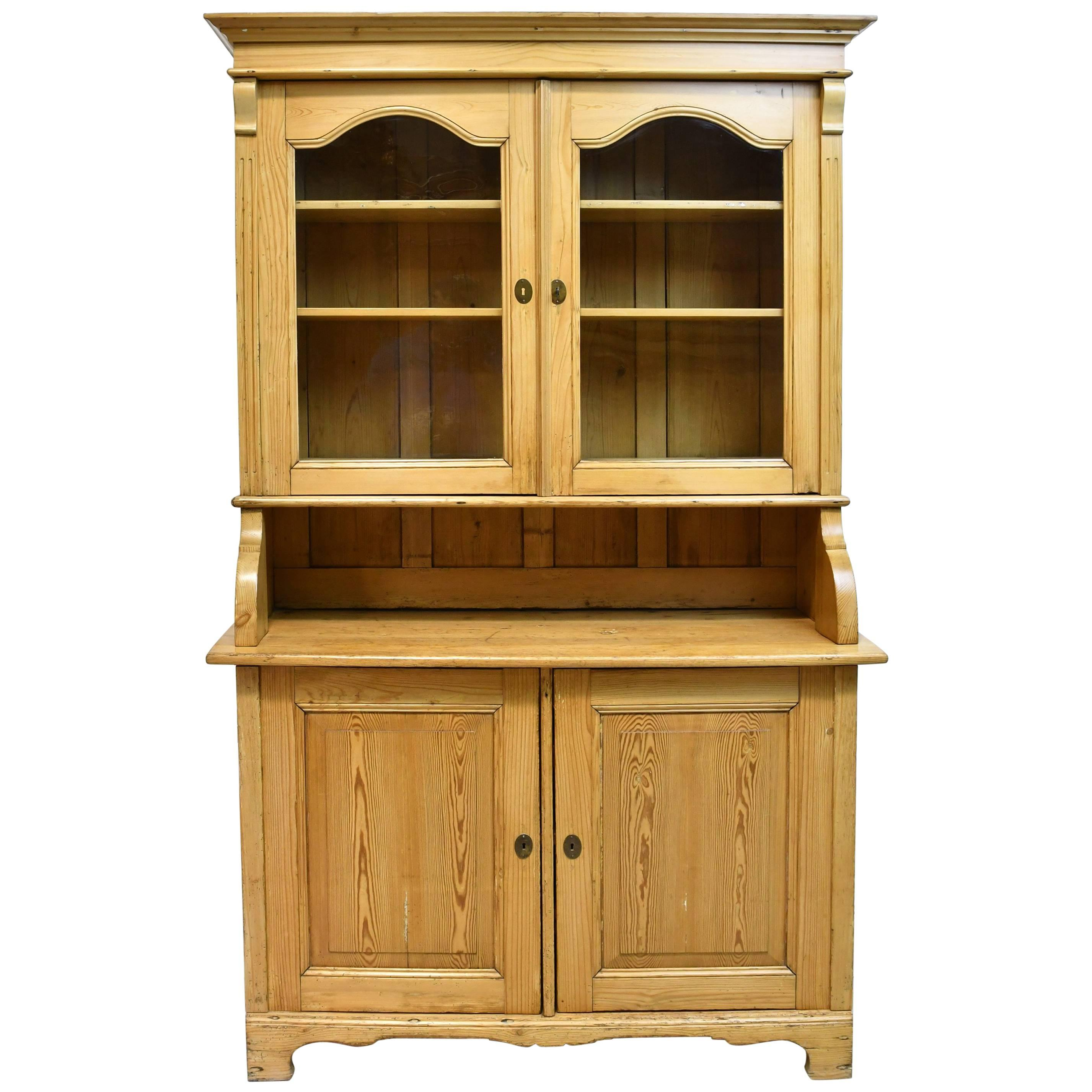 North German Pine Hutch With A Flight Of Interior Drawers And Original  Glass For Sale