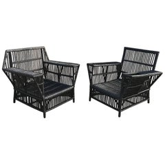 Stick Wicker Lounge Chairs