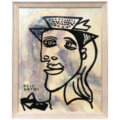 Peter Robert Keil, 'Lady with a Hat' Oil Portrait, Signed and Dated