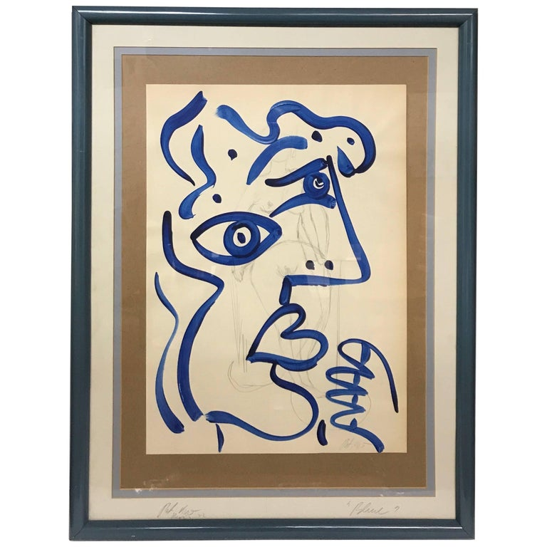 Peter Keil Abstract Expressionist Acrylic Portrait 'Blue Lady'