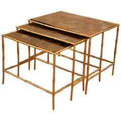 Set of Three Faux Bamboo Bronze Nesting Tables by Maison Bagues