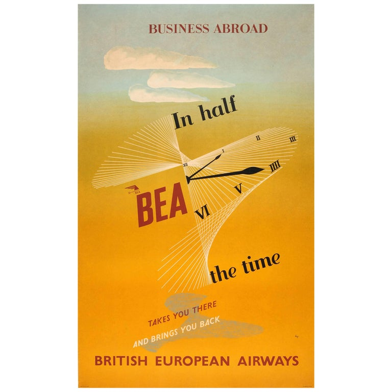 Original Vintage Midcentury British European Airways Poster for Business Abroad For Sale