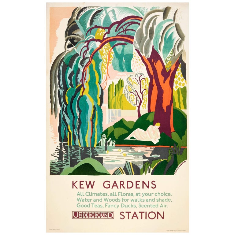 Original Vintage London Transport Poster for Kew Gardens by London Underground