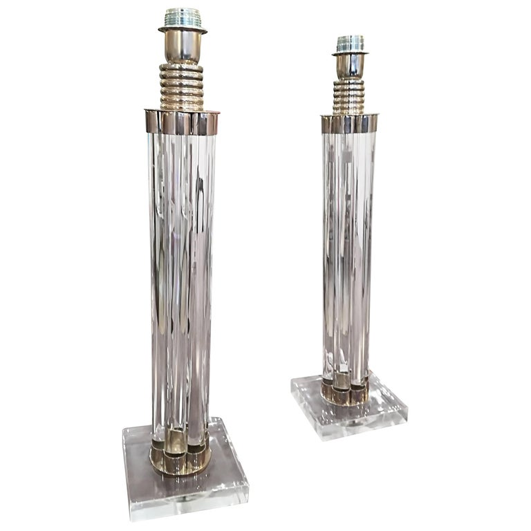Elegant Pair of Glass and Nickel Plated Metal Table Lamps