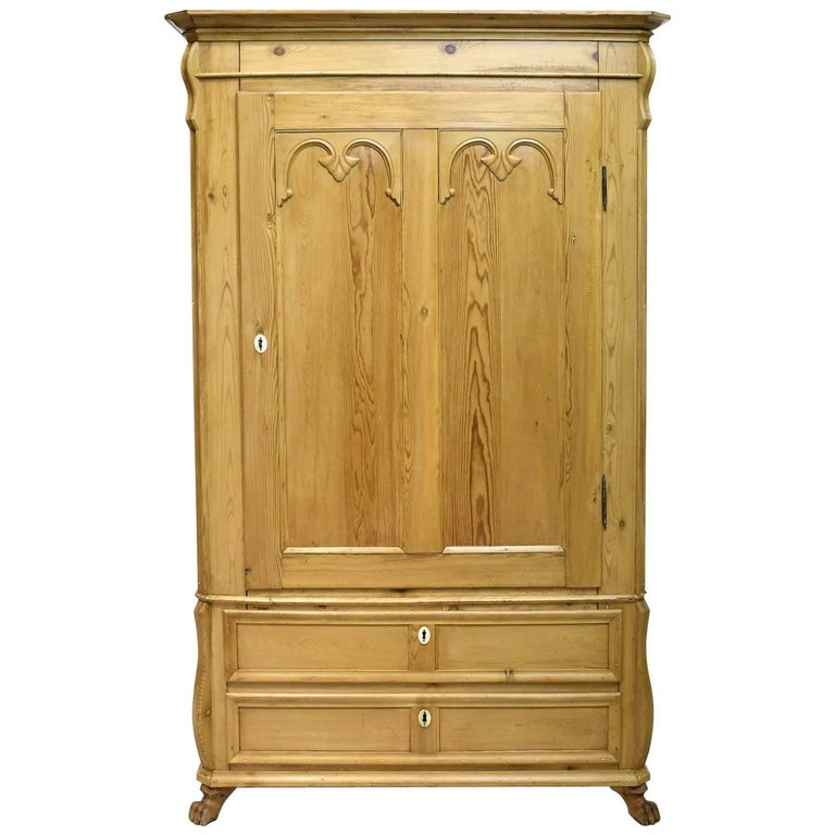 Danish single door pine armoire with adjustable interior for 1 door wardrobe with shelves