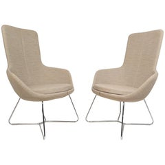 Pair of Mid-Century Style High back Lounge Chairs