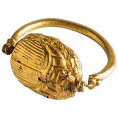 Phoenician 22 Karat Gold Scarab Ring, Fine Ancient Jewelry