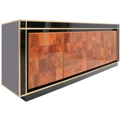Wooden Cupboard, Metal and  Crystal, attribuited by romeo rega-Willy Rizzo, 70s