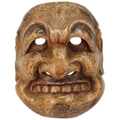 Japanese Edo Period Kyogen Mask of a Nio Guardian