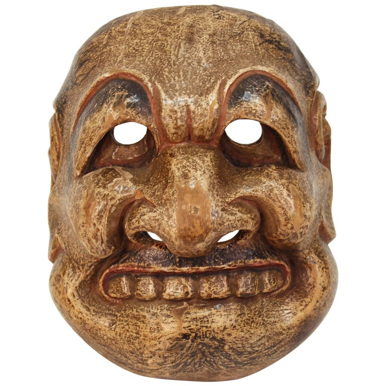 Japanese Edo Period Kyogen Mask of a Nio Guardian For Sale