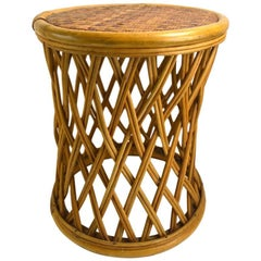 Woven Wicker and Bamboo Stool Table