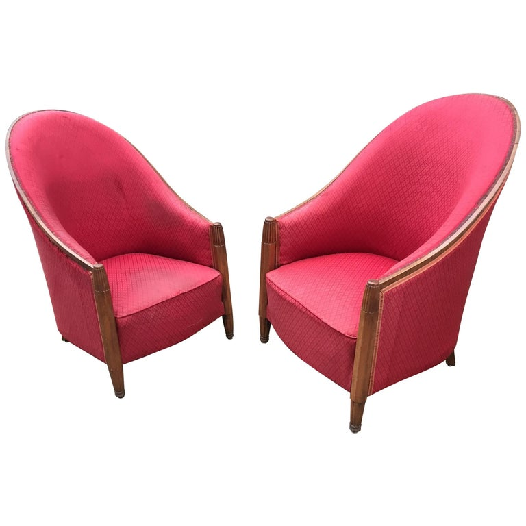Joubert et Petit 'DIM' Attributed Pair of Art Deco Mahogany Club Chairs