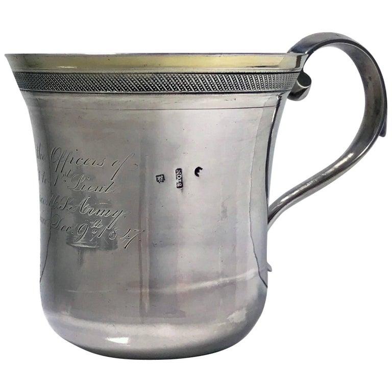 Regimental Spanish Colonial Silver Mexican 19th Century Mug, circa 1847