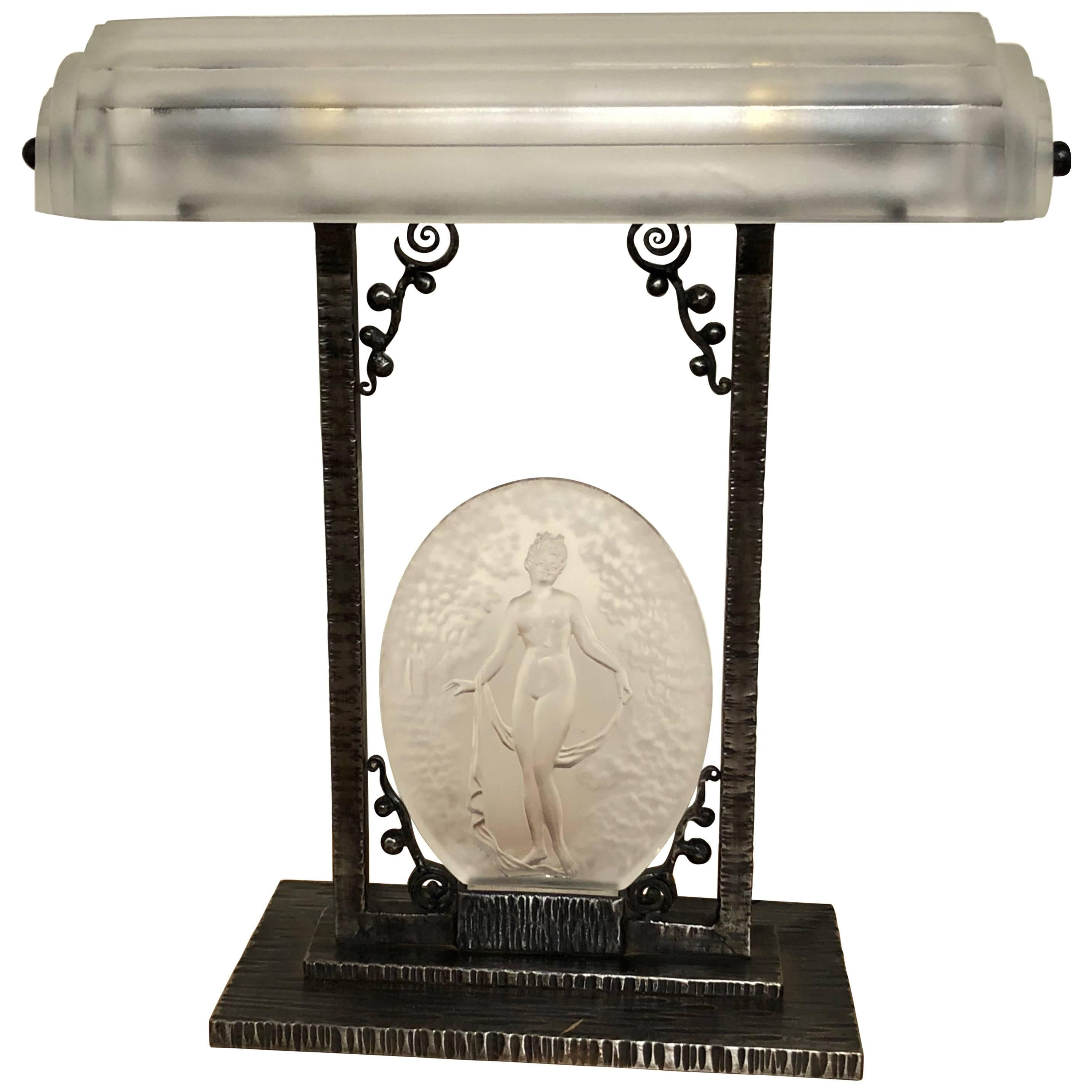 Rare Pierre D´Avesn French Art Deco Acid Etched Table Lamp