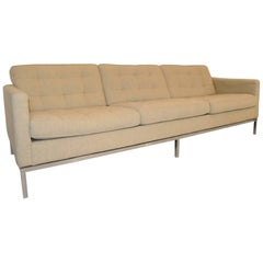 Mid-Century Modern Chrome and Upholstered Florence Knoll Sofa