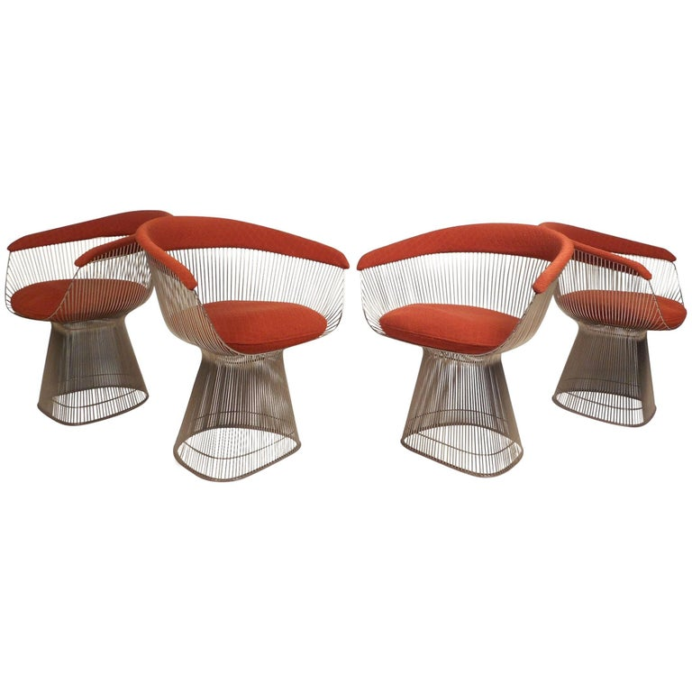 Set of Four Mid-Century Modern Warren Platner for Knoll Chairs