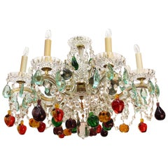 Mid-Century Maria Theresa Chandelier with Fruit Crystals