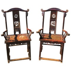 Chinese Late 18th Century Painted Elm Chairs