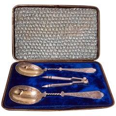 Antique Vermeil Silver Plate Fruit Serving Set, Fitted Box, English, circa 1880