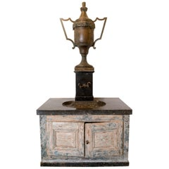 Bronze Vase Fountain with Black Marble Sink and Patina Base 'Four Parts'