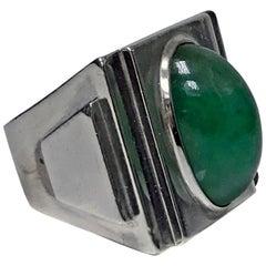 Bold Striking Art Deco Architectural Design Ring, French Import Mark, circa 1920
