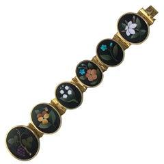 Very Fine 19th Century Gold Pietra Dura Bracelet, Italy circa1875
