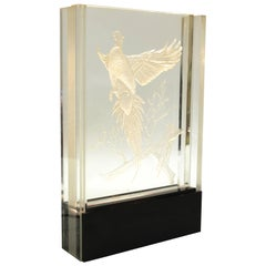 Hollywood Regency Etched Lucite Table Light with Pheasant in Flight