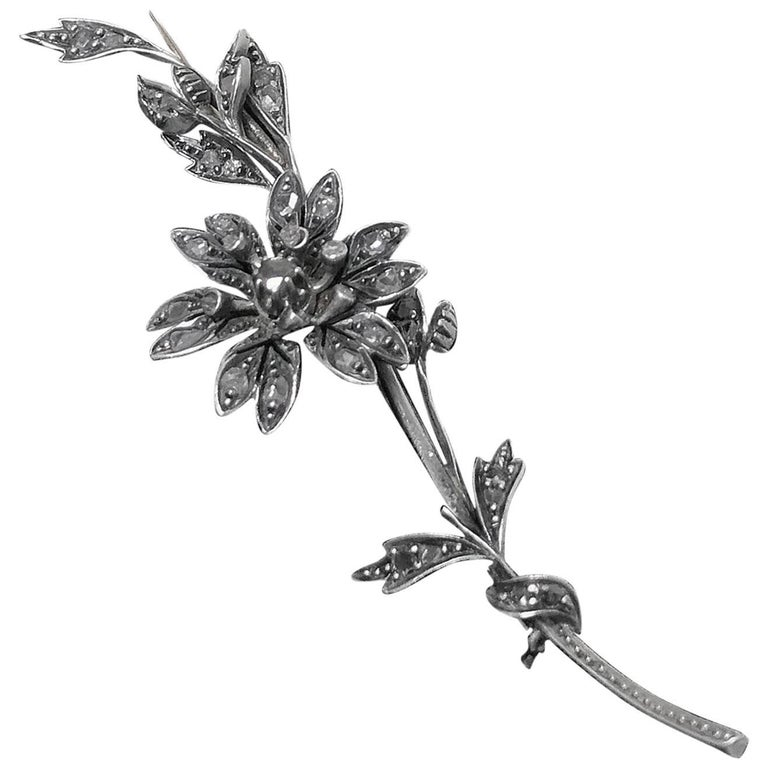 Antique Victorian Diamond Tremblant Brooch, circa 1875