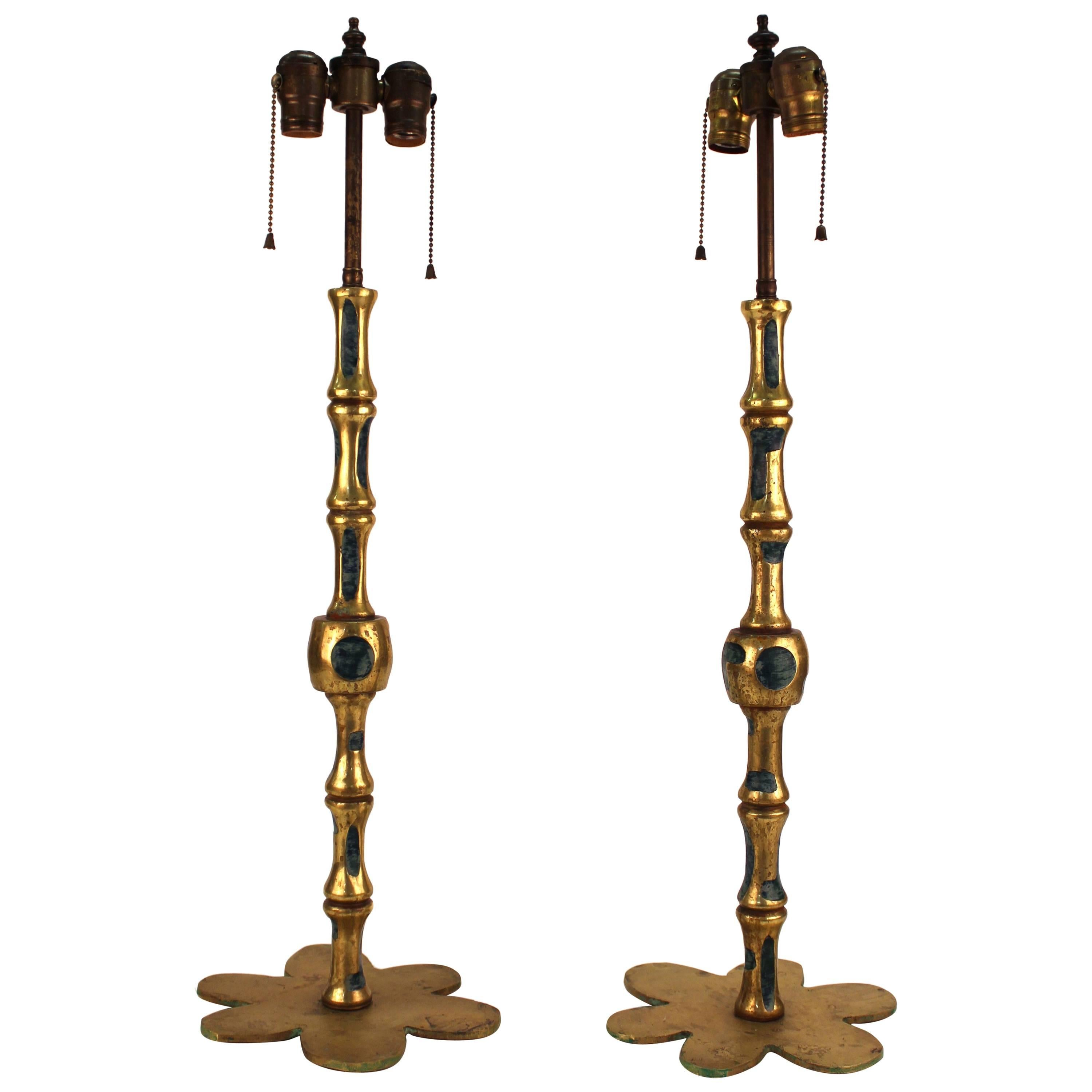 Pepe Mendoza Style Midcentury Bronze and Turquoise Ceramic Candlestick Lamps
