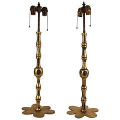 Pepe Mendoza Midcentury Bronze and Turquoise Ceramic Candlestick Lamps