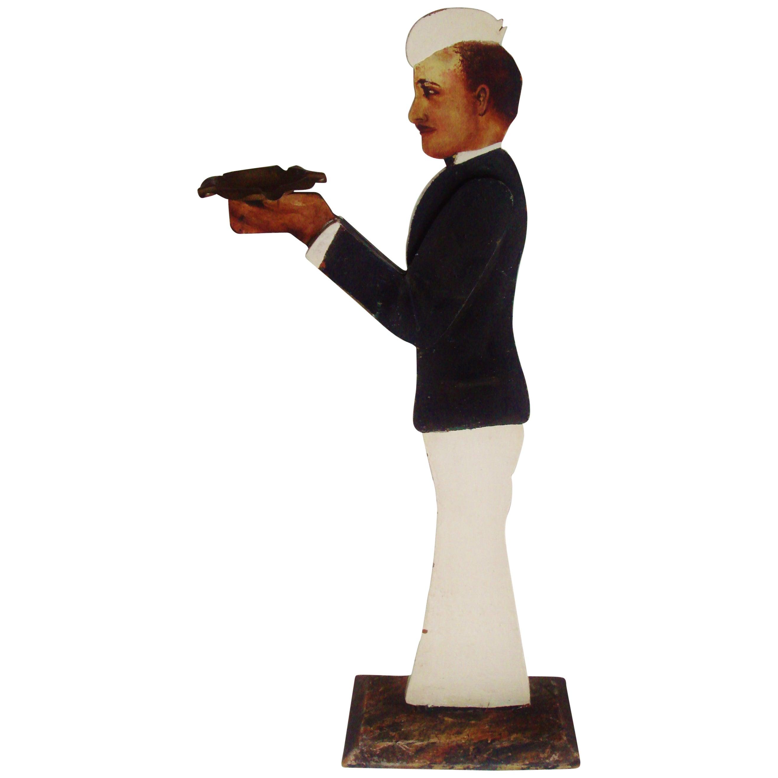 American Art Deco Figurative Soda-Jerk Folk Art Wood and Brass Ashtray Stand