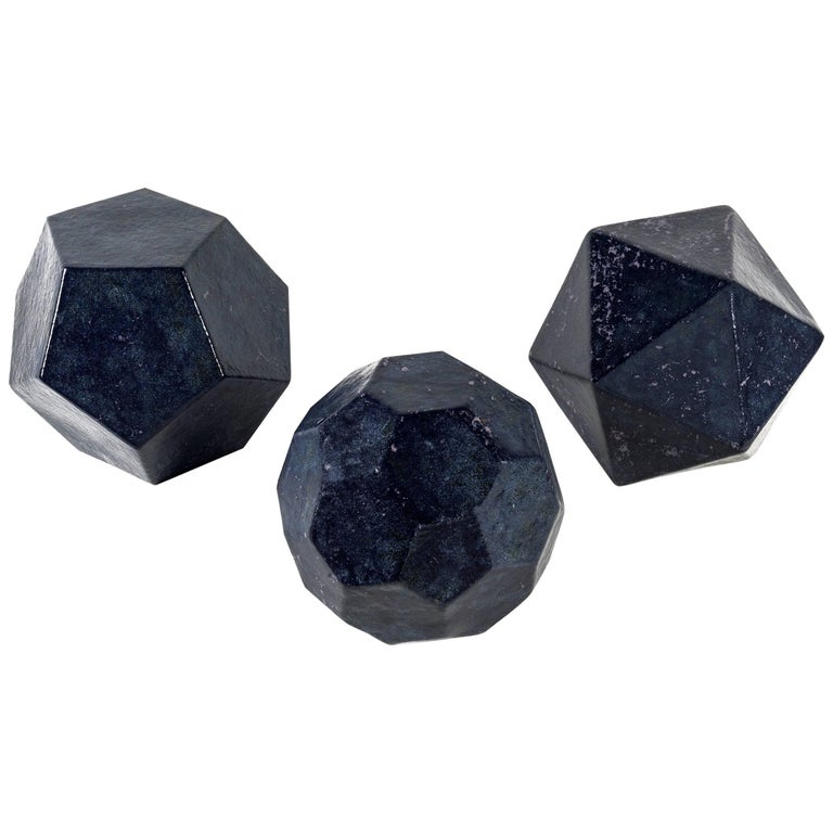 "Cesare de Vita, Ceramic Triptych ""Dodecahedron, Fullerene and Icosahedron"" For Sale"