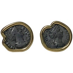18K Ancient Coin Earrings, Custom Mounted, circa 1990