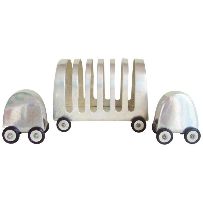 English 1960s Polished Aluminium Cruet and Toast Rack Three-Piece Set on Wheels