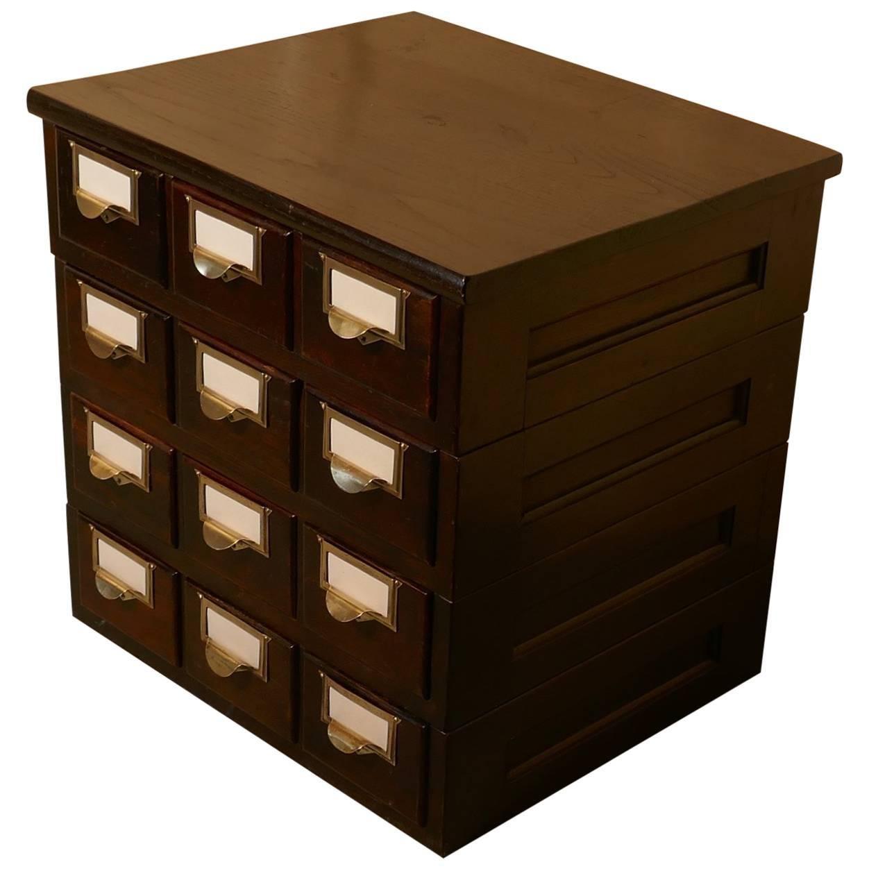12 Drawer Oak Card Index Filing Cabinet, Wine Rack