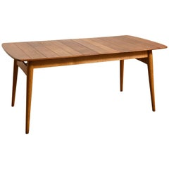 Elegant Rare Rectangular Solid Teak Dining Table, Denmark 1950s