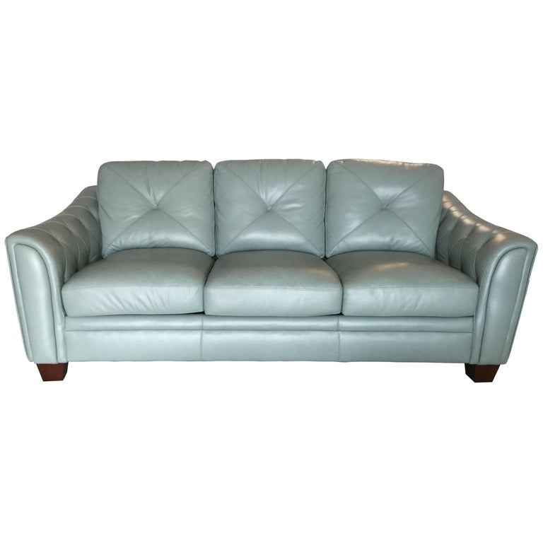Palm beach teal blue leather contemporary sofa at 1stdibs for Teal leather sofa