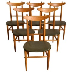 Rare 1950s Set of Six Solid Teak Heigh Back Dining Chairs, Denmark
