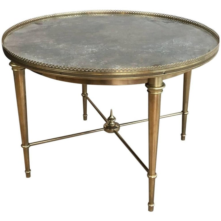 round brass coffee table with faux marble top attributed to maison ramsay for sale at 1stdibs. Black Bedroom Furniture Sets. Home Design Ideas