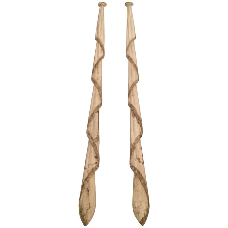 Dramatic Pair of Carved Wood Elongated Swags Wall Sculptures