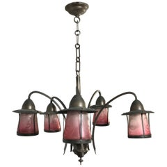Arts & Crafts Patinated Brass Pendant Light with Acid Etched Color Glass Shades