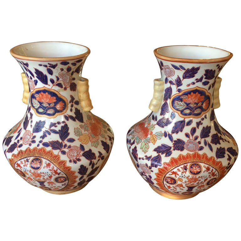 Gorgeous Pair of Imari Style Painted Vases