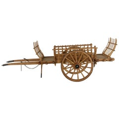 Hand-Carved French Large-Scale Wooden Model Hay Wagon with Iron Trimmed Wheels