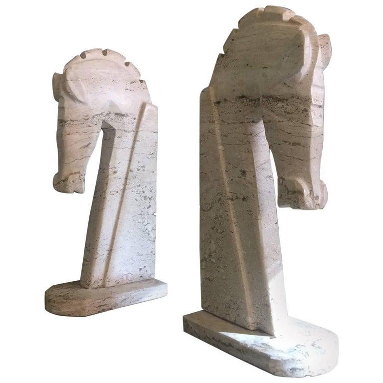 Pair of Mid-Century Italian Travertine Horse Head Bookends