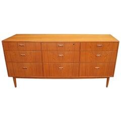 Low Teak Nine-Drawer Dresser by Falster Møbelfabrik, Attributed to Arne Vodder