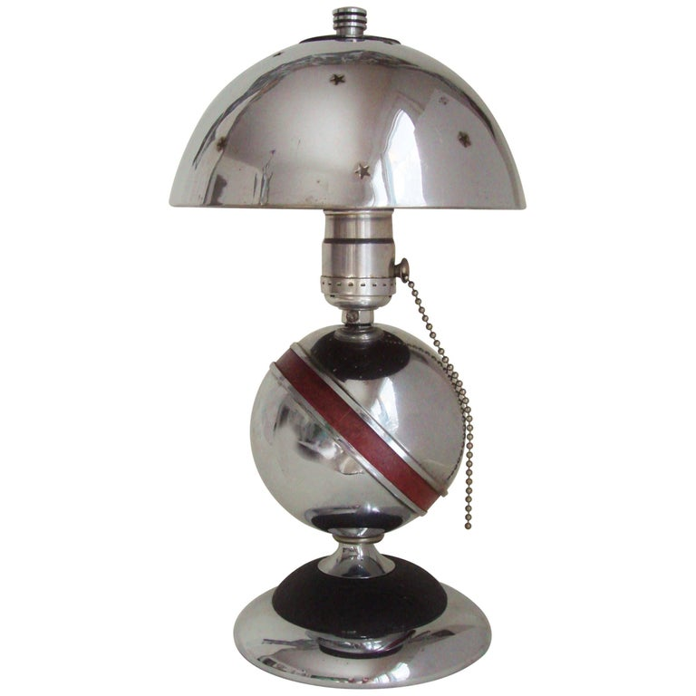 Rare American Art Deco Chrome, Black and Red Saturn Lamp with Star Pierced Shade